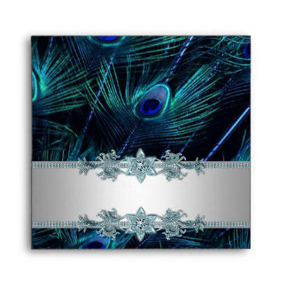 Elegant Silver and Blue Peacock Envelope