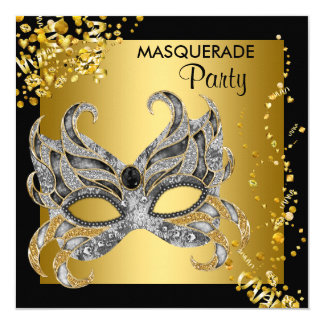 Elegant Silver and Gold Masquerade Party Card