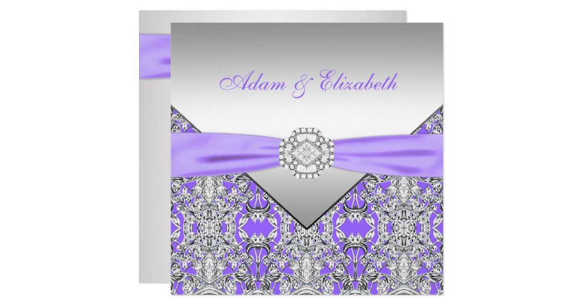 Wedding Invitations With Purple Ribbon: Elegant Silver And Lavender Purple Lace Wedding Card