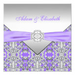 Elegant Silver and Lavender Purple Lace Wedding Personalized Invitation