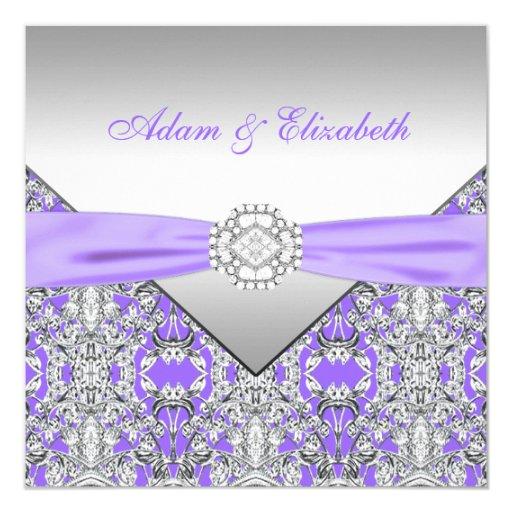 Elegant Silver Wedding Invitations: Elegant Silver And Lavender Purple Lace Wedding 5.25x5.25