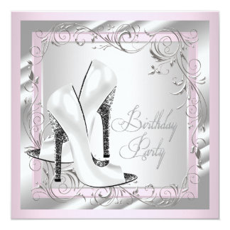 Elegant Silver and Pale Pink Birthday Party Custom Invitations