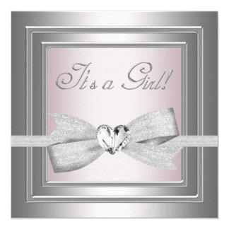 Elegant Silver and Pink Baby Girl Shower Card