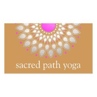 Elegant Silver and Pink Ornate Lotus Mandala Business Card