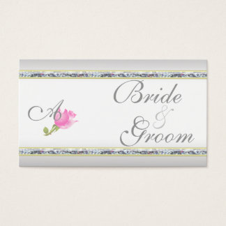 Elegant Silver and Pink Rose Business Card