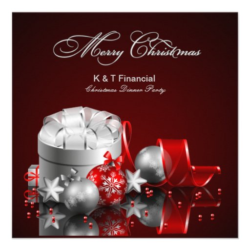 Elegant Silver and Red Christmas Party Invites