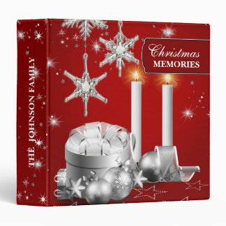 Elegant Silver and Red Christmas Photo Album Binder