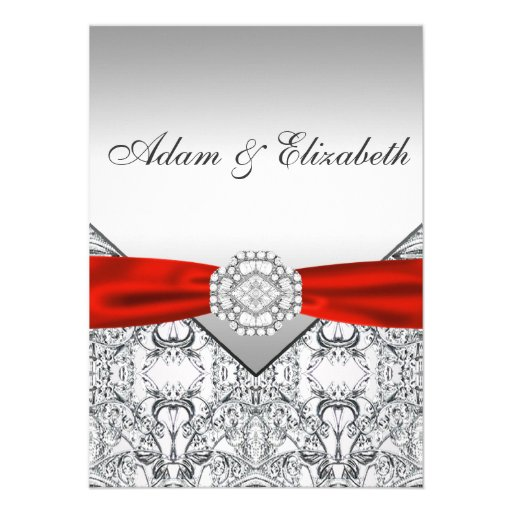 Red And Silver Wedding Invitations: Elegant Silver And Red Wedding Invitations