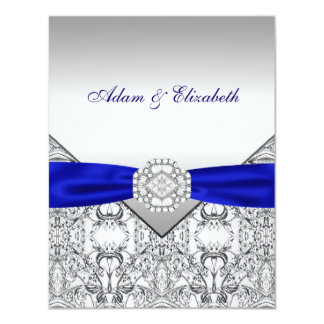 Elegant Silver and Royal Blue Wedding Invitations