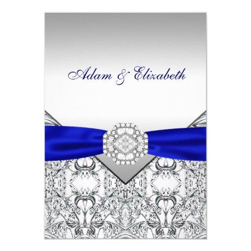 Elegant Silver Wedding Invitations: Elegant Silver And Royal Blue Wedding Invitations