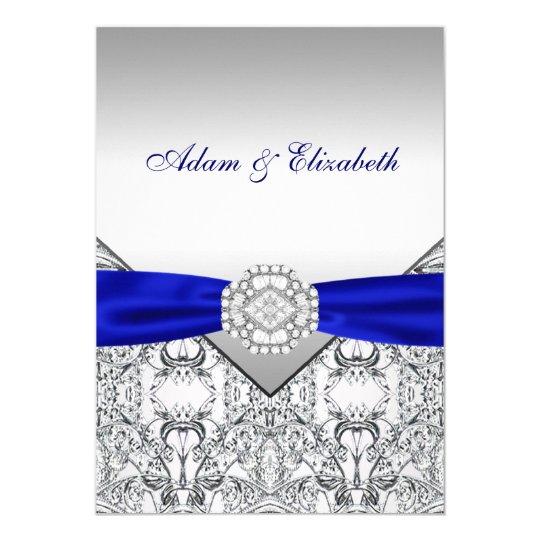 Elegant Silver and Royal Blue Wedding Invitations Zazzlecom