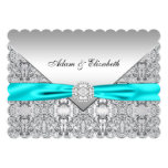 Elegant Silver and Teal Blue Lace Wedding 5x7 Paper Invitation Card