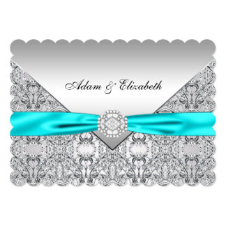 "Elegant Silver and Teal Blue Lace Wedding 5"" X 7"" Invitation Card"