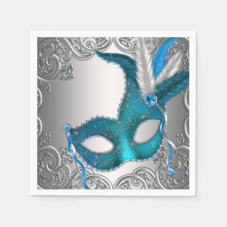 Elegant Silver and Teal Blue Masquerade Party Paper Napkin