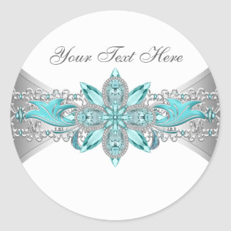 Elegant Silver and Teal Blue Stickers