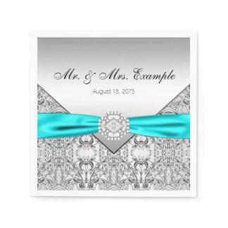 Elegant Silver and Teal Blue Wedding Paper Napkins