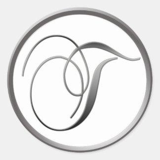 Elegant Silver and White Monogram T Classic Round Sticker