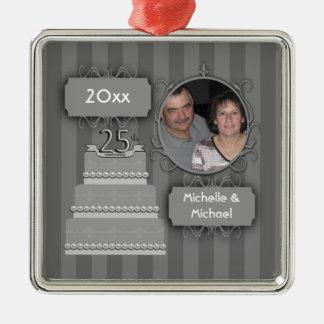 Elegant Silver Anniversary Christmas Ornament
