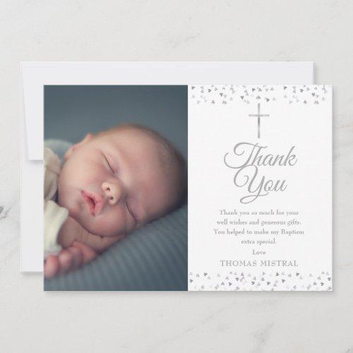 Elegant Silver Baptism Christening Hearts Photo Thank You Card