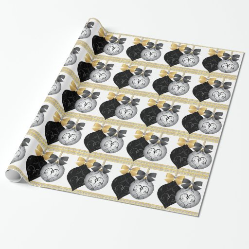 elegant silver black and gold christmas wrapping wrapping paper zazzle. Black Bedroom Furniture Sets. Home Design Ideas