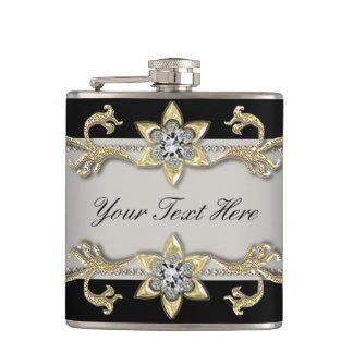 Elegant Silver Black and Gold Flask