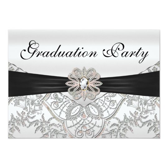 Elegant Silver Black and Pink Graduation Party Card
