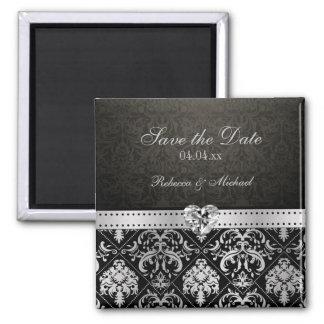 Elegant Silver & Black Damask Save the Date Magnet