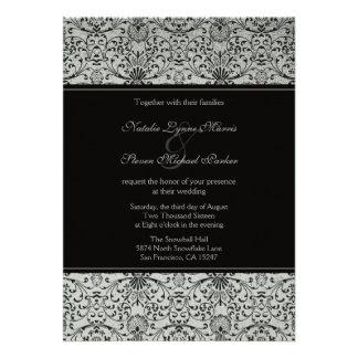 Elegant silver black damask wedding invitation