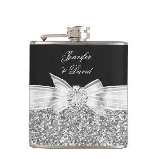 Elegant Silver Black Diamond Wedding Engagement Hip Flask