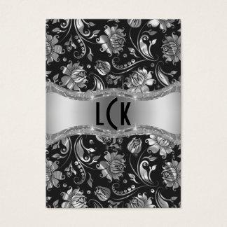 Elegant Silver & Black Floral Damasks Business Card