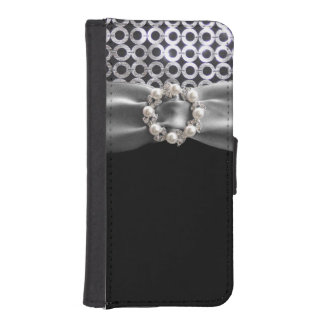 Elegant Silver Black Pearl Ribbon Wallet case