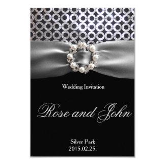 Elegant Silver Black Pearl Ribbon Wedding Card