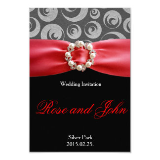 Elegant Silver Black Red Satin Ribbon Wedding Card