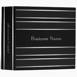 Elegant Silver Black Stripe Trim Business Binder