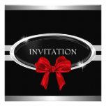Elegant Silver Black & White Stars Red Bow Announcement