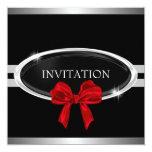 "Elegant Silver Black & White Stars Red Bow 5.25"" Square Invitation Card"