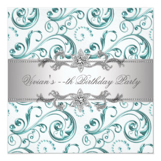 Elegant Silver Blue All Occasion Party Invitation