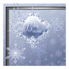 Elegant Silver Blue Snowflake Baby Boy Shower Personalized Invitations