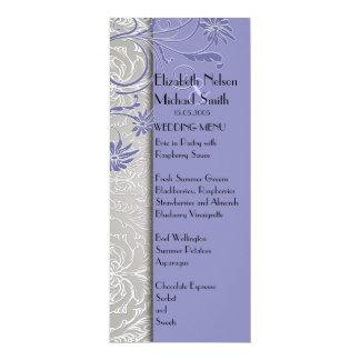 Elegant Silver/Blue Swirls Damask Wedding Menu Invites