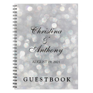 Elegant Silver Bokeh Custom Wedding Guest Book