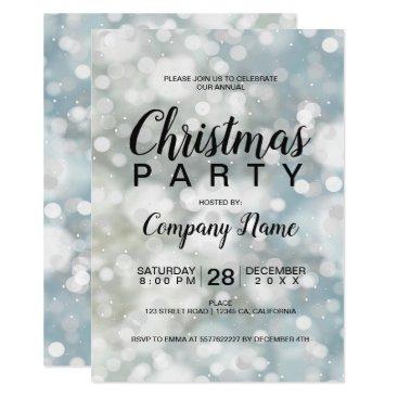 Professional Business Elegant silver bokeh snow corporate Christmas Card