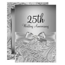 Elegant Silver Bow Floral Swirl 25th Anniversary Invitation