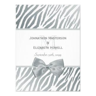 Elegant Silver Bow Zebra Print Monogram Wedding Card