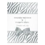 Elegant Silver Bow Zebra Print Monogram Wedding 6.5x8.75 Paper Invitation Card