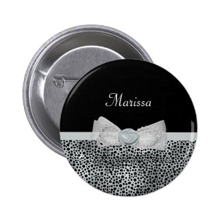 Elegant Silver Cheetah Print Frilly Bow With Name 2 Inch Round Button