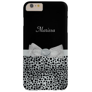 Elegant Silver Cheetah Print Frilly Bow With Name Barely There iPhone 6 Plus Case