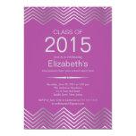 """Elegant Silver Chevron Graduation Party Invitation 5"""" X 7"""" Invitation Card"""