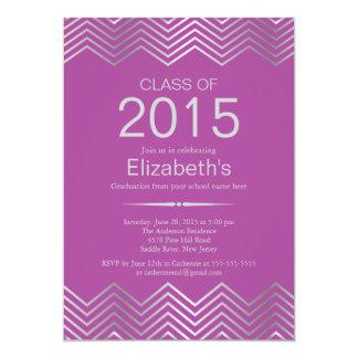 Elegant Silver Chevron Graduation Party Invitation