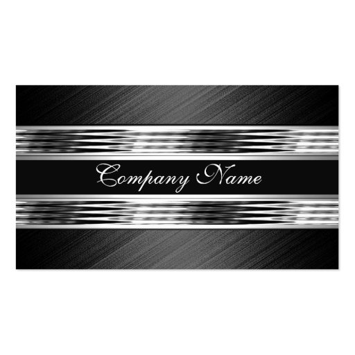 Elegant Silver Chrome Metal Black 2 Business Card Template