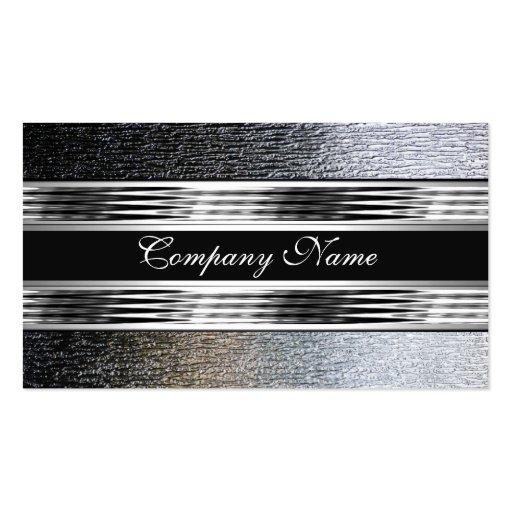 Elegant Silver Chrome Metal Black 2 Business Cards